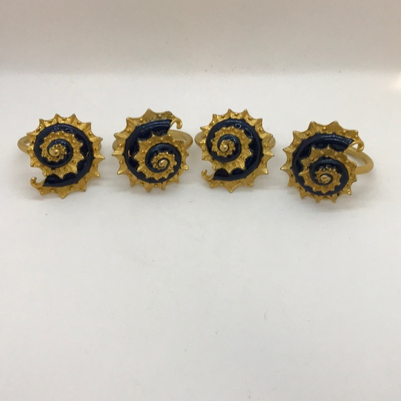Set of 4 navy blue enamel & gold napkin rings
